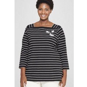 NWOT Ava & Viv Striped T-Shirt Size 3X, 4X